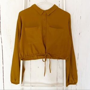 Favlux cropped long sleeve button down blouse NEW